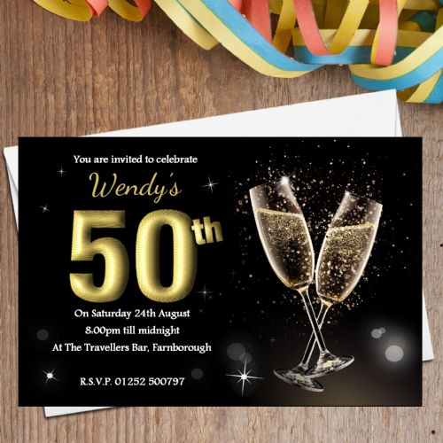 10 Personalised Black & Gold Champagne Birthday Party Invitations N197 - Any age